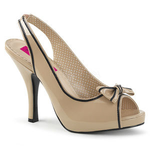 "Shoes - 4 1/2"" High Heel Bow Platform Pinup Peep Toe Shoes"